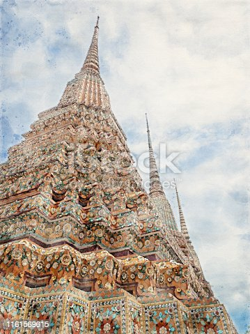 847999586 istock photo Watercolor Painting of Colorful Antique Pagoda at Wat Pho Temple in Bangkok Thailand 1161569615