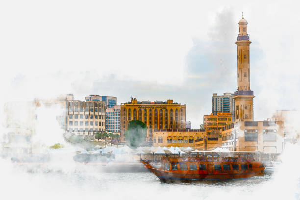 Watercolor painting of Dubai Creek - overlooking the Grand Mosque Minaret stock photo