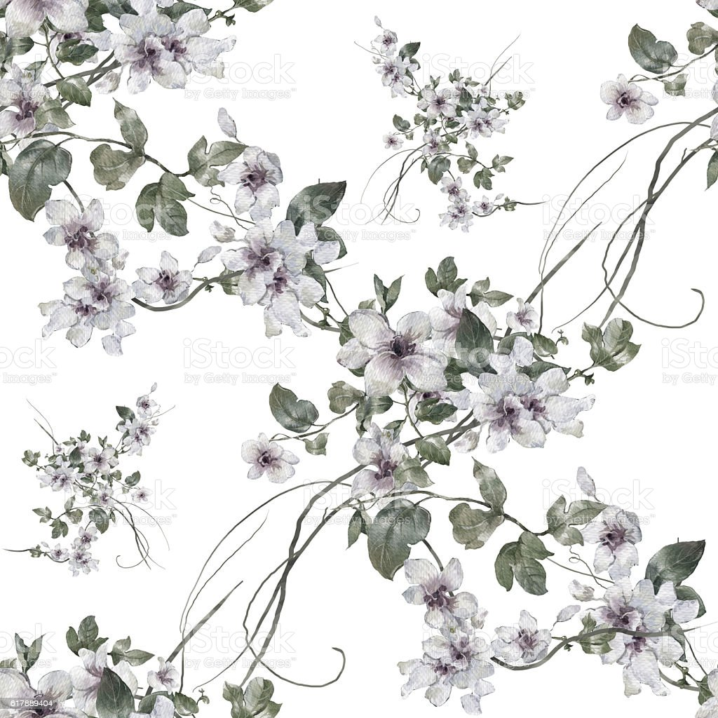 Watercolor painting of leaf and flowers, seamless pattern – Foto