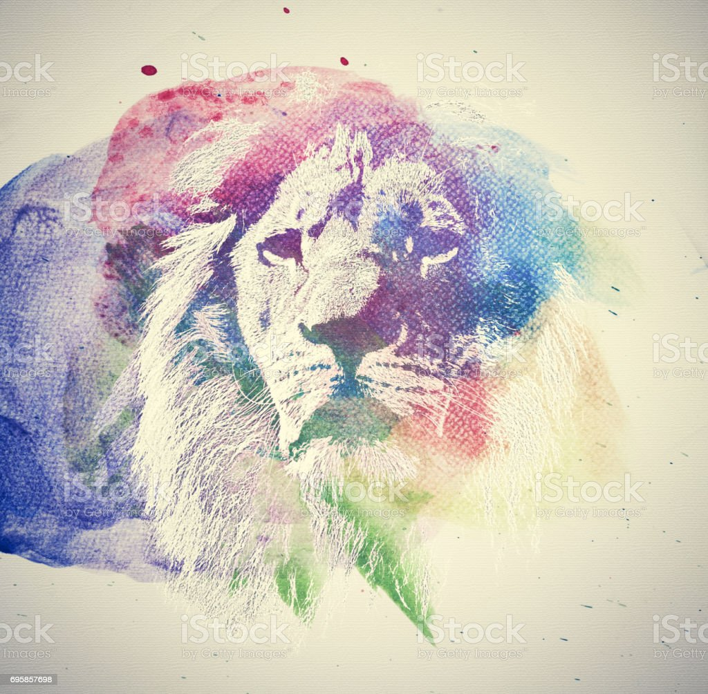 Watercolor painting of lion. Abstract, colorful art. stock photo