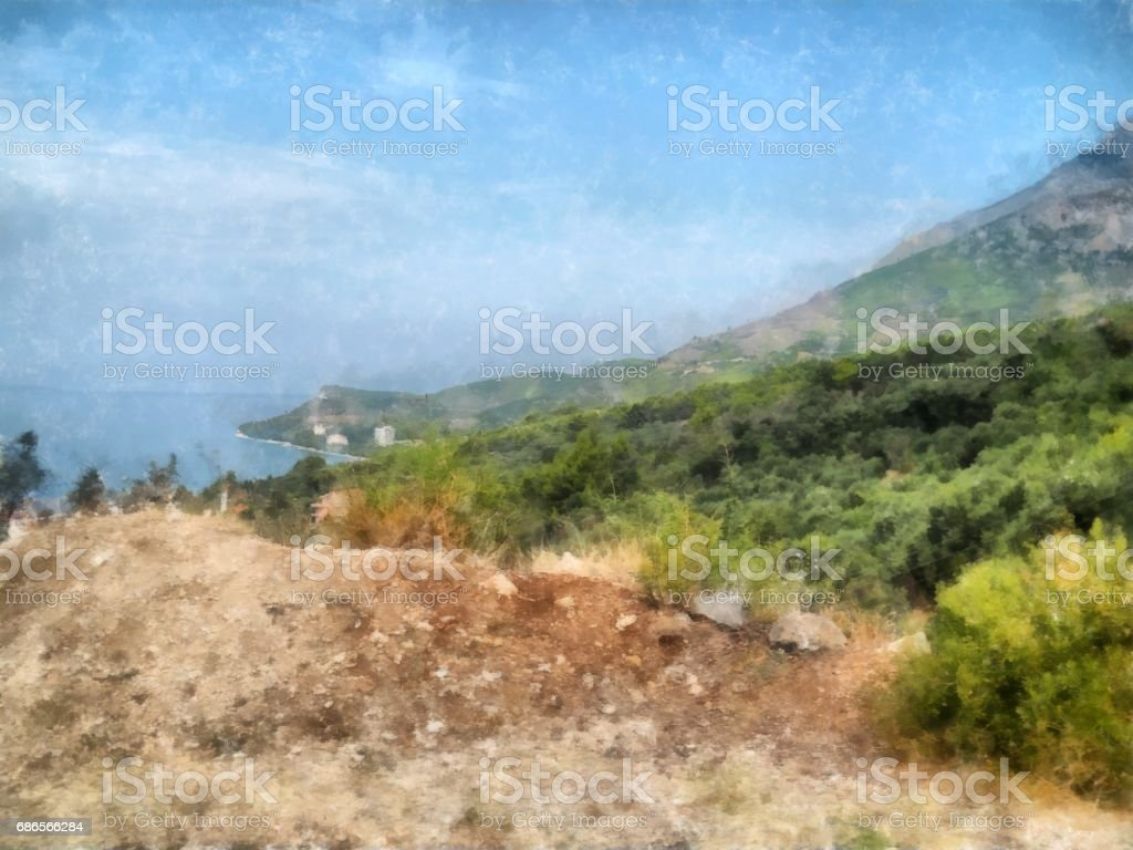 watercolor painting of Mediterranean coastal  mountains from the road royalty-free stock photo