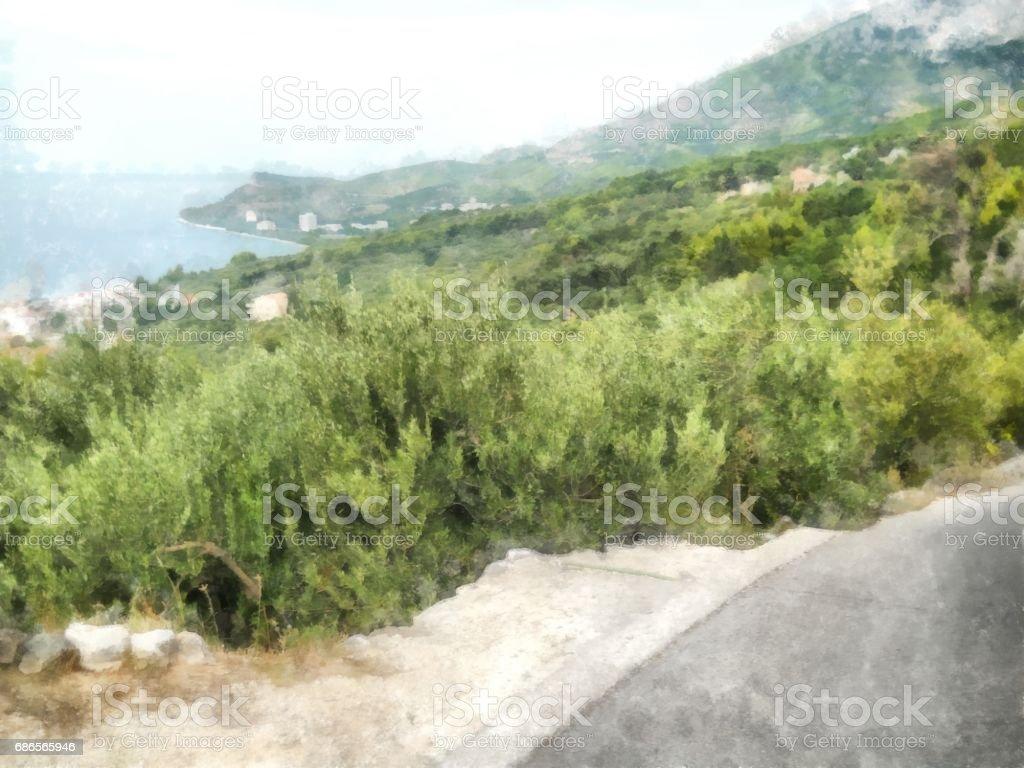 Aquarelle de montagnes côtières méditerranéennes photo libre de droits