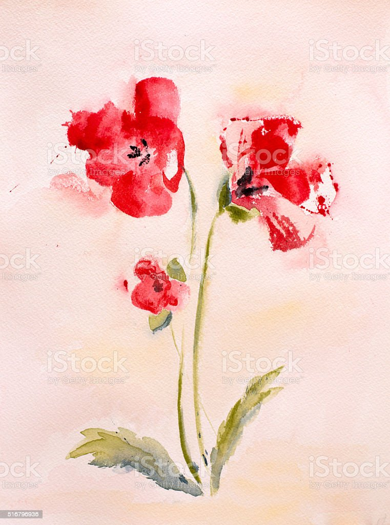 Watercolor painting of poppy flowers with sunny background stock photo