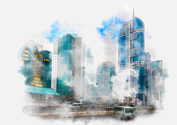 Watercolor painting of the skyscrapers of Sheikh Zayed Road in Dubai stock photo