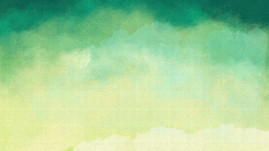Hand-painted Watercolor Painting on Watercolor Paper - Teal, Aqua, Green Yellow - Copy Space