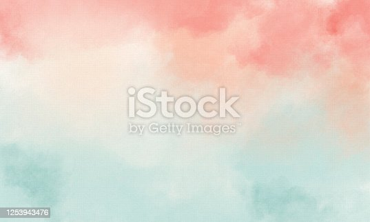 Hand-painted Watercolor Background on Watercolor Paper with Pastel Green and Coral Color - Copy Space