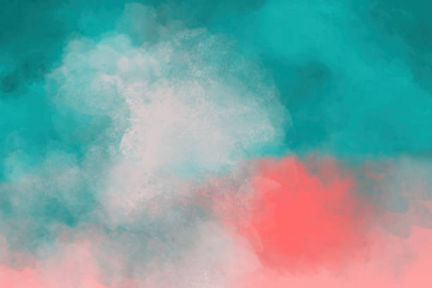 Watercolor Painting - Orange and Teal Background Watercolor Background - Orange and Teal coral colored stock pictures, royalty-free photos & images