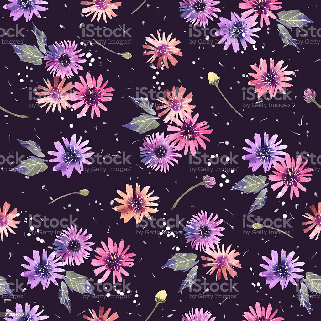 Watercolor paintings of flowers Zinnia colorful ornamental decorative pattern. stock photo