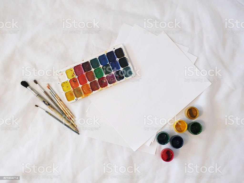 Watercolor Paints And Brushes on white background Lizenzfreies stock-foto