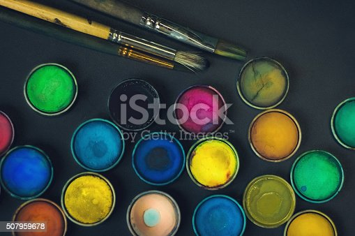 istock Watercolor paints and brushes 507959678