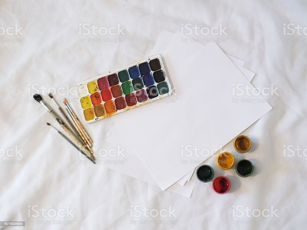 watercolor paints and Gouache foto stock royalty-free