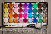 Watercolor Paint Pots Overhead view - wet paint - art supplies
