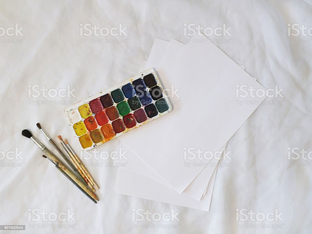 watercolor palette on white background foto stock royalty-free