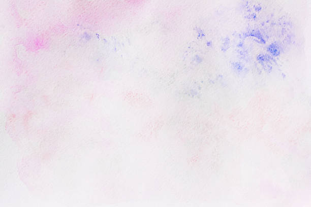 Watercolor pink and violet abstract hand painted background with drawing - Photo
