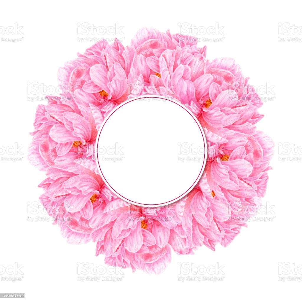Watercolor Pink Peony Botanical Art Template For A Business Card ...