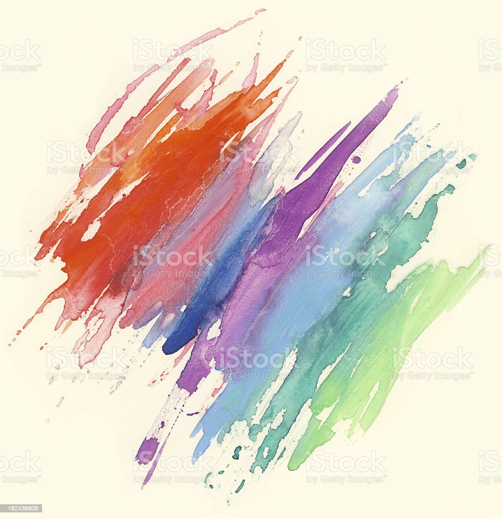 Watercolor rainbow painting royalty-free stock photo