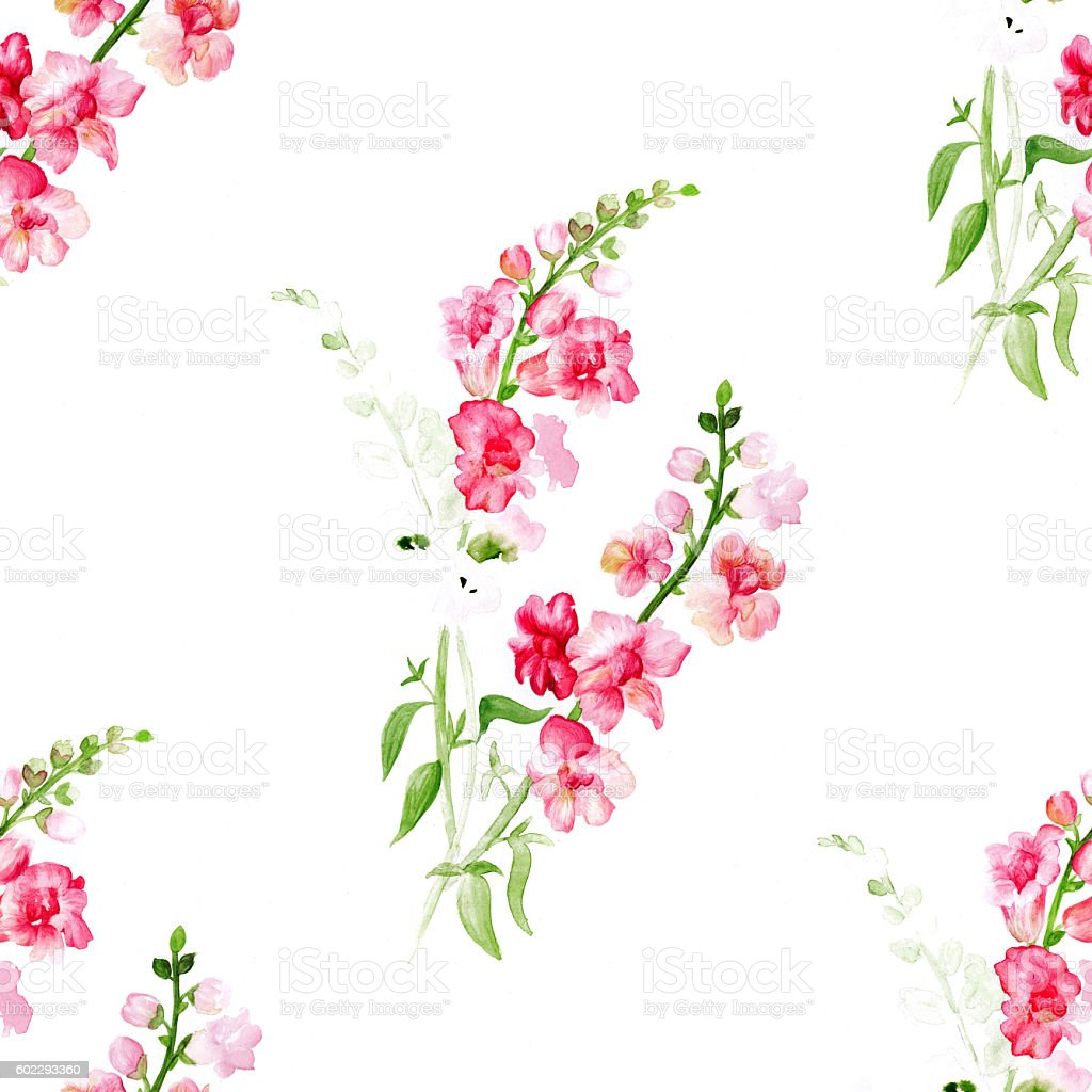 Watercolor red flowers pattern stock photo