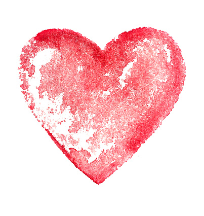 Watercolor red heart. Abstract background. Watercolor colorful texture.