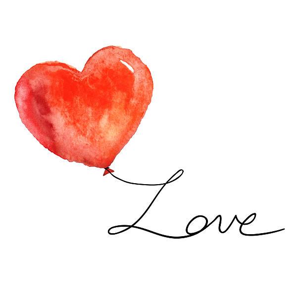 Aquarell Rot Herz mit Liebe auf weiß. – Foto