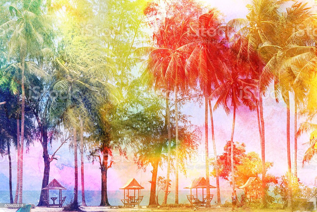 Watercolor retro palms stock photo