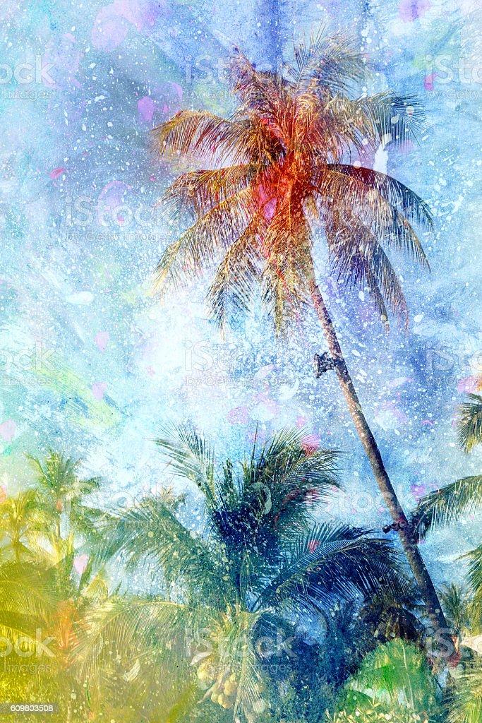 Watercolor Retro palms stock photo