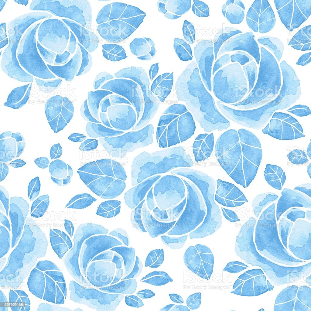 Watercolor roses. Floral seamless pattern 10. Hand drawn background stock photo