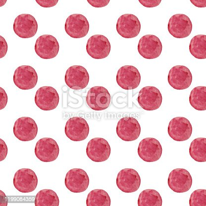 istock Watercolor round dots pattern. Seamless hand drawn pattern with pink dots on white background. Hand drawn abstract wallpaper 1199084359