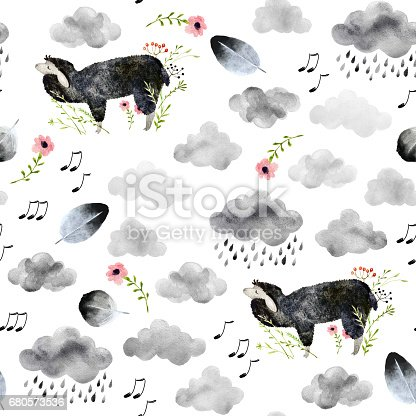 Seamless pattern with hand drawn sheeps and clouds. Isolated on white background watercolor sleep sheeps and other elements for textile, fabric and wallpaper.