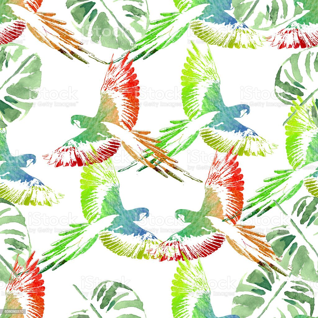 Watercolor seamless pattern. Tropical background. Parrots,  palm stock photo