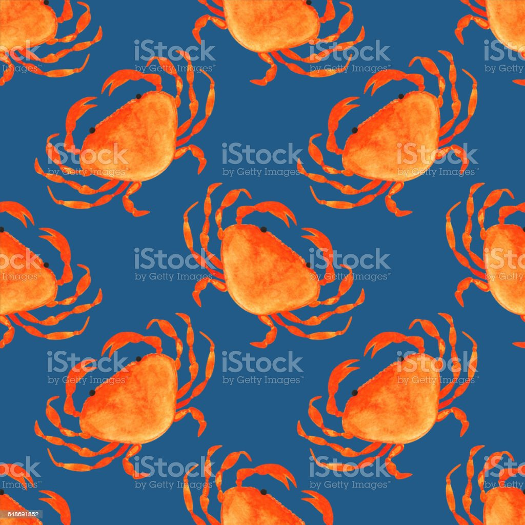 Watercolor seamless pattern with crabs vector art illustration