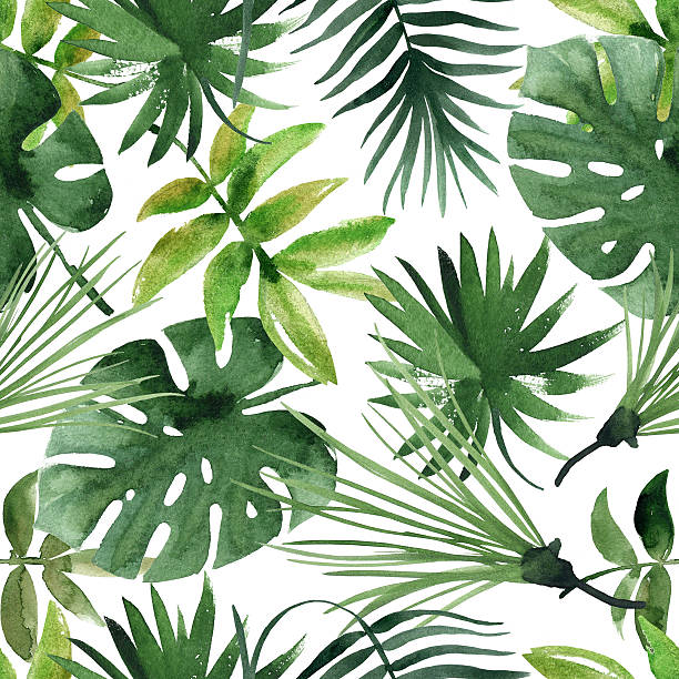 watercolor seamless pattern with leaves watercolor seamless pattern with leaves exoticism stock pictures, royalty-free photos & images