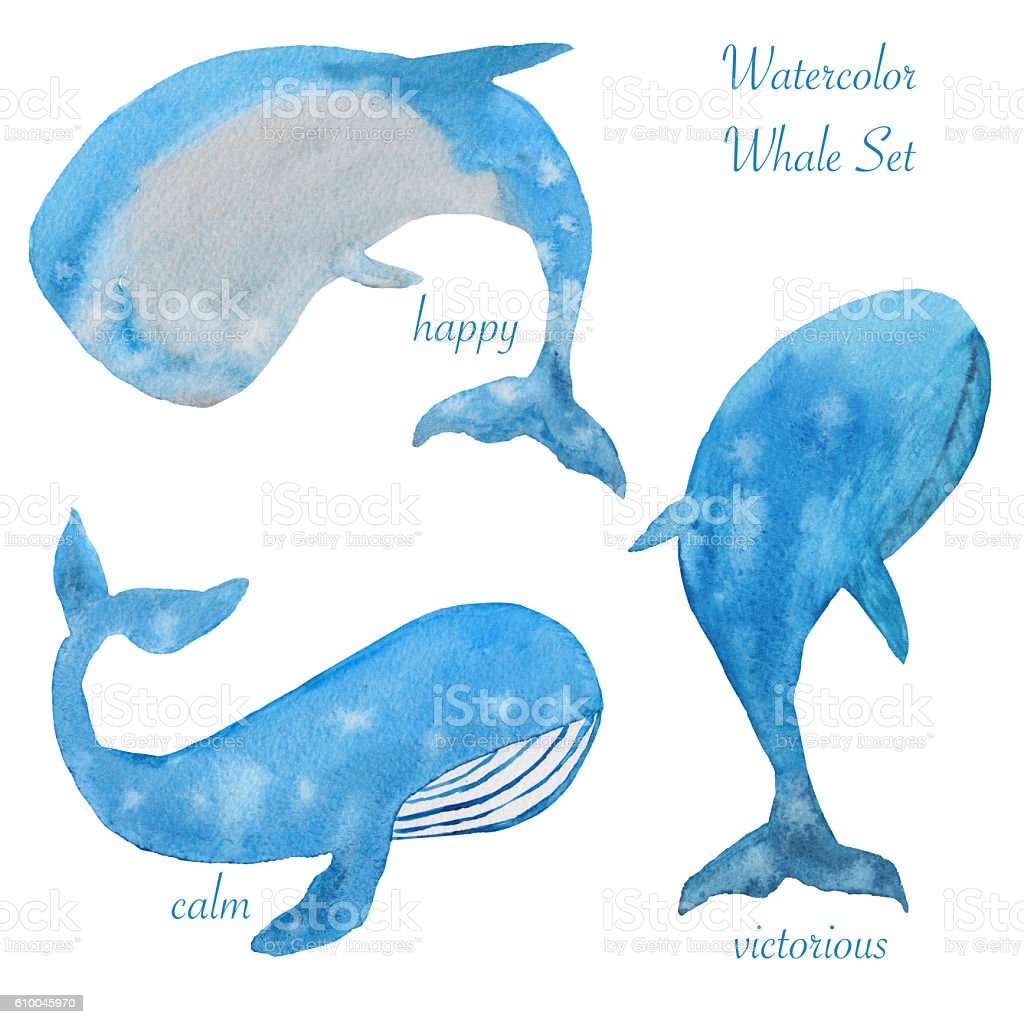 Watercolor set of whales стоковое фото