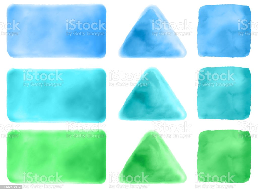 Watercolor Shapes - Triangle, Square and Rectangle stock photo