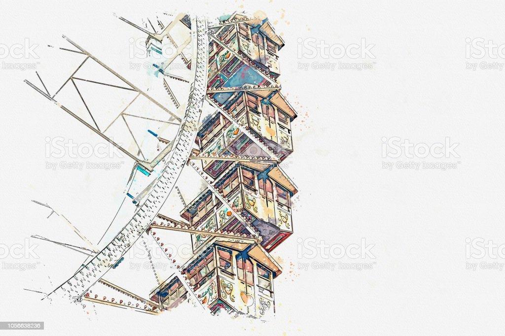 Ein Aquarell Skizze oder eine Illustration des Riesenrads – Foto