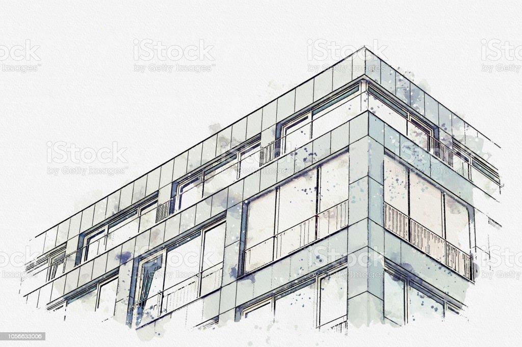 Ein Aquarell Skizze oder eine Illustration. Die Ecke des Gebäudes mit vielen Fenstern – Foto