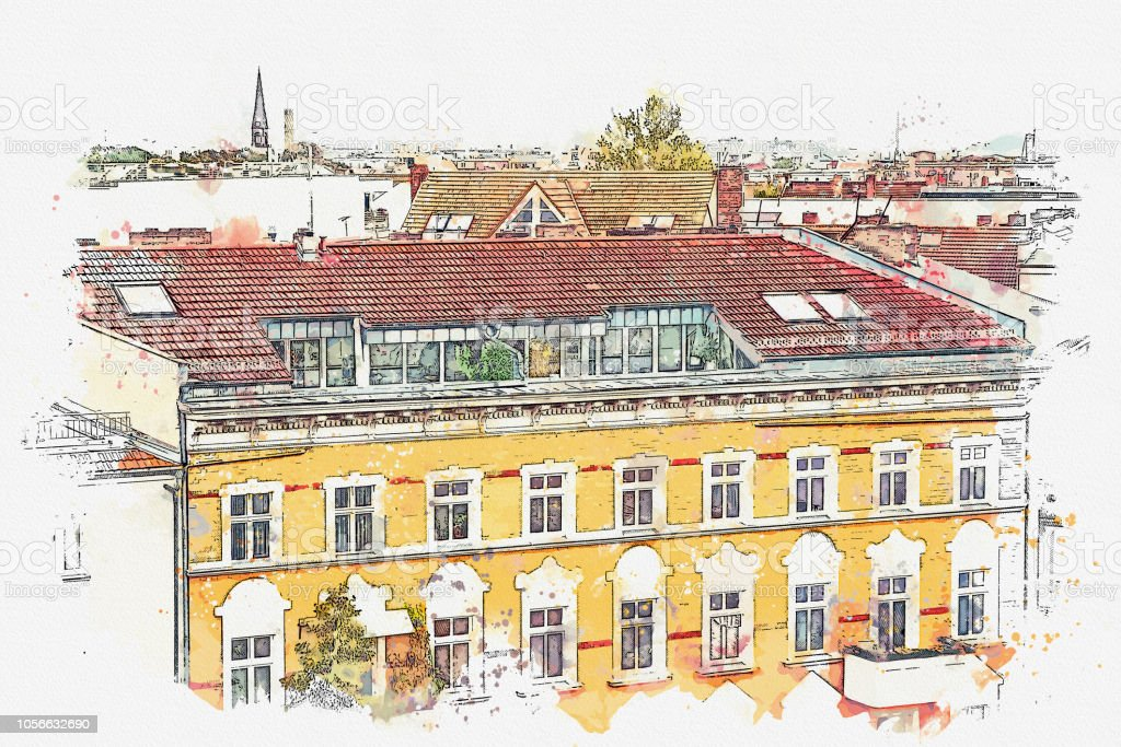 Ein Aquarell Skizze oder eine Illustration. Traditionelle Architektur in Berlin in Deutschland. – Foto