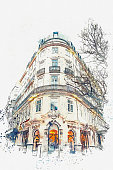 A watercolor sketch or an illustration. Traditional European architecture. The corner of a typical building in Porto in Portugal.