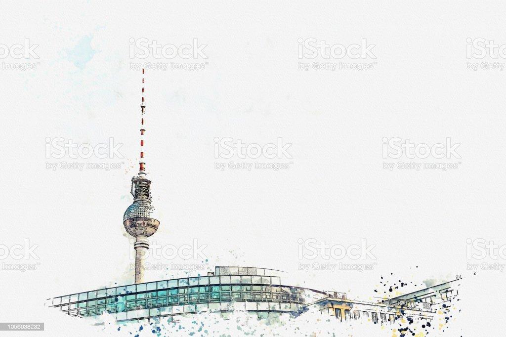 Ein Aquarell Skizze oder Illustration. Berliner Architektur. Der Fernsehturm auf dem Platz namens Alexanderplatz – Foto