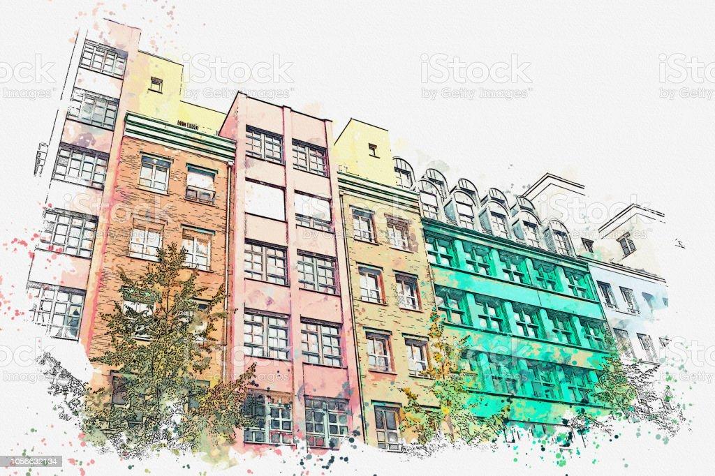 Ein Aquarell Skizze oder Illustration. Berlin. Farbige Wohngebäude. – Foto