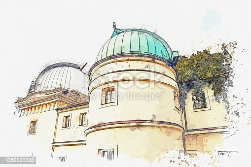 istock A watercolor sketch or illustration. Observatory on Petrishin Hill in Prague. 1056632330