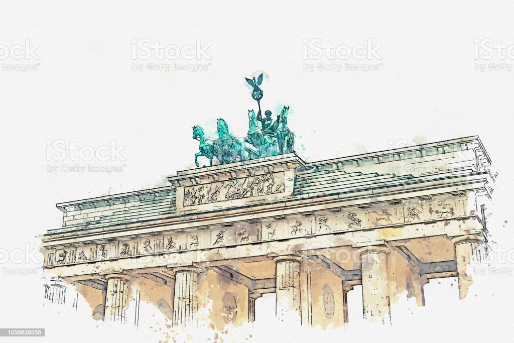Ein Aquarell Skizze oder eine Abbildung des Brandenburger Tors in Berlin, Deutschland. – Foto