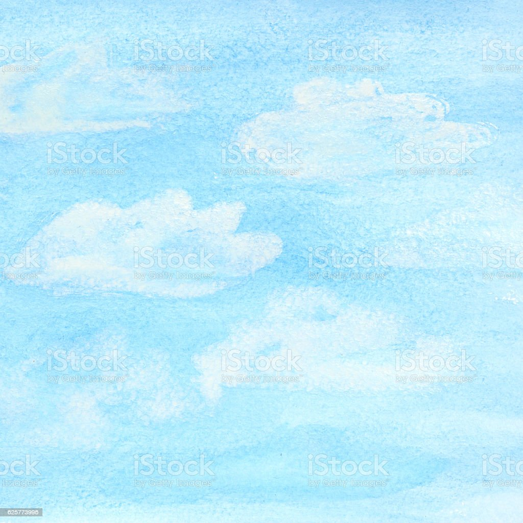 Watercolor sky and clouds stock photo