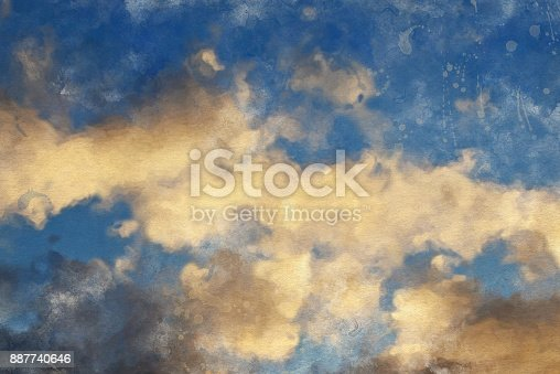 istock Watercolor Sky Background 887740646
