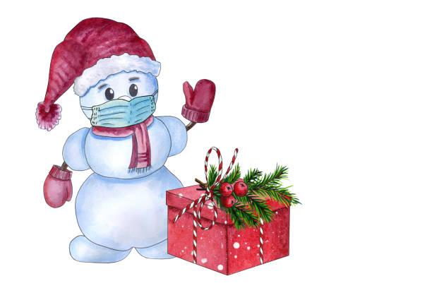 Watercolor snowman in medical mask with red gift box stock photo