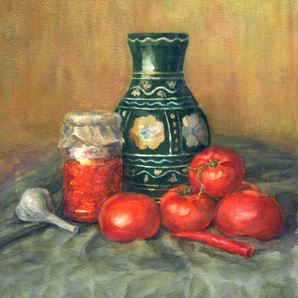 aquarell stillleben mit tomaten. - stilleben stock-fotos und bilder