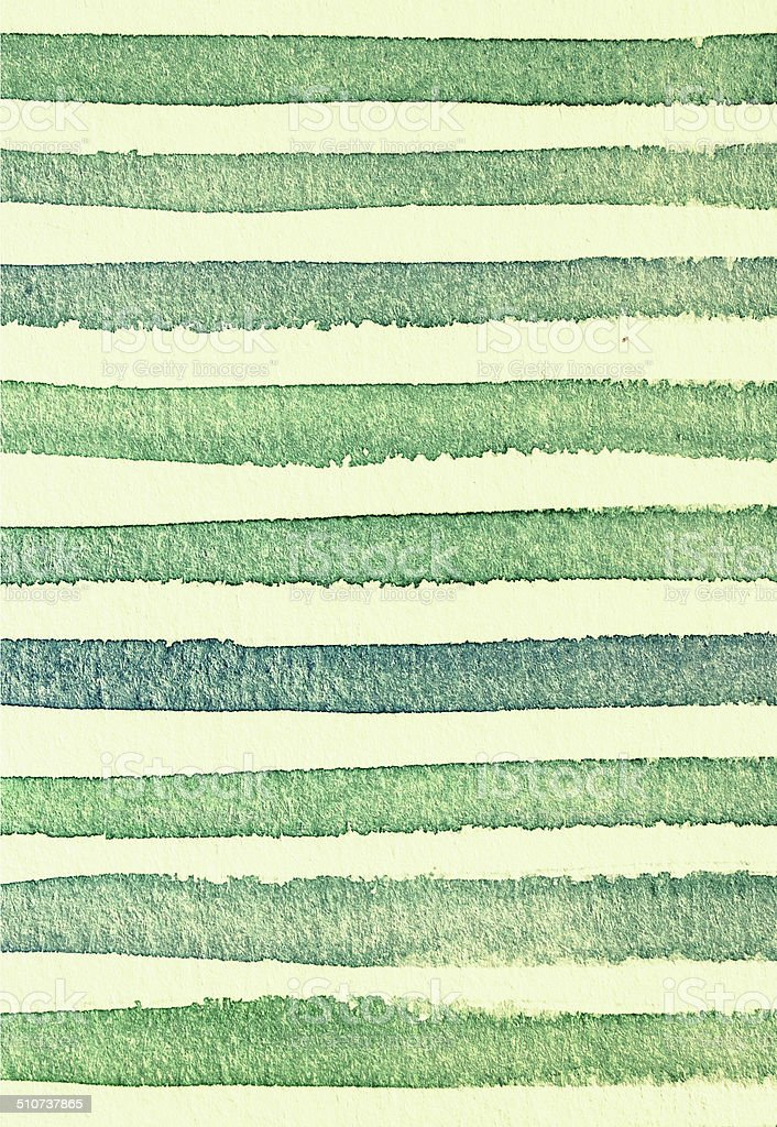 Watercolor striped textured background green color stock photo
