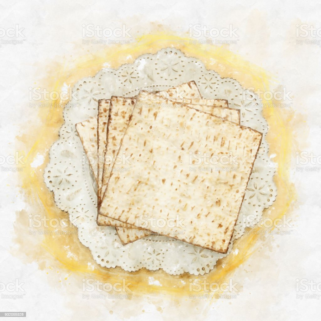 watercolor style and abstract image of passover background with matzoh over yellow background. stock photo