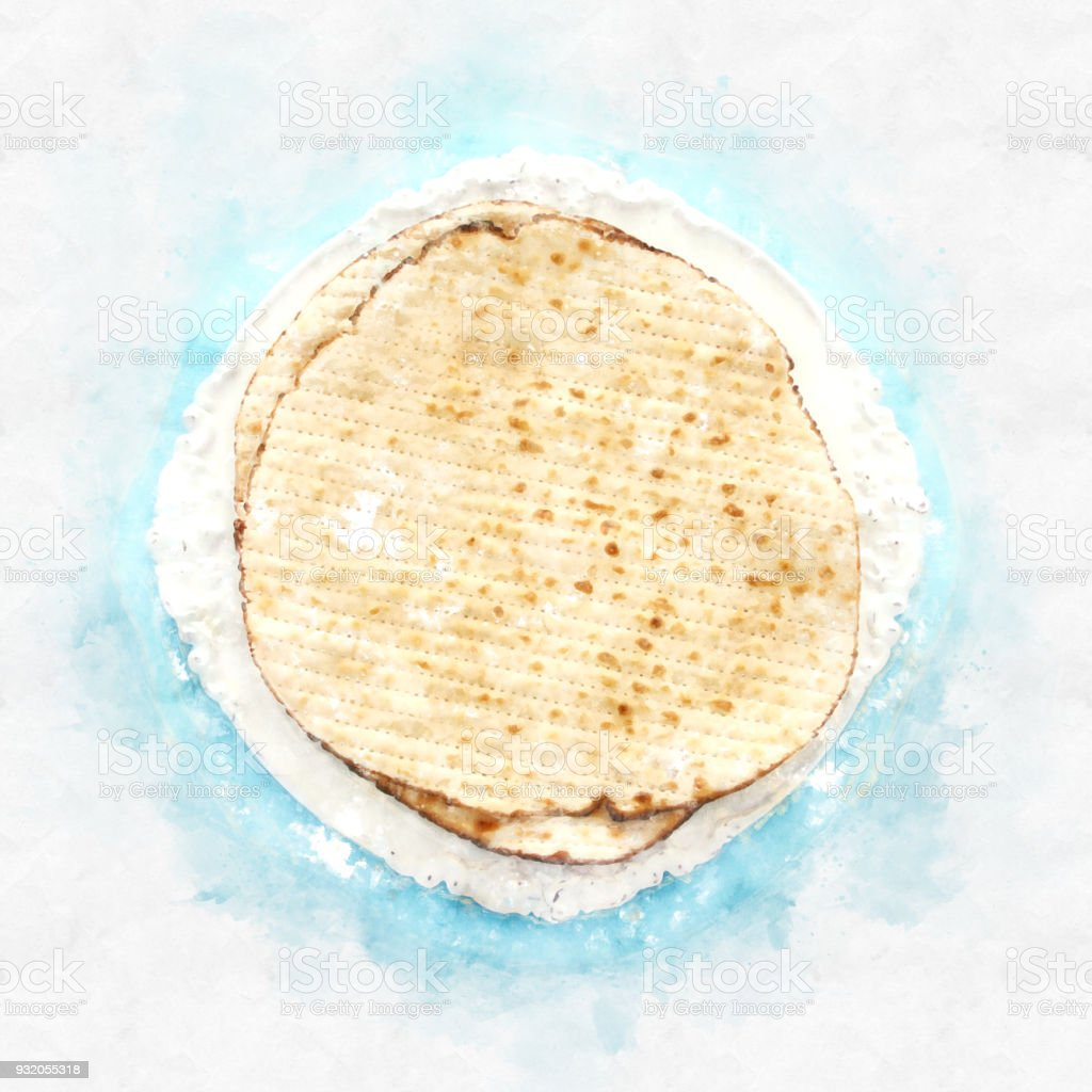 watercolor style and abstract image of passover background with matzoh stock photo