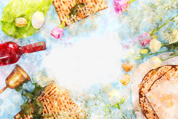 watercolor style and abstract image of Pesah celebration concept (jewish Passover holiday). – zdjęcie