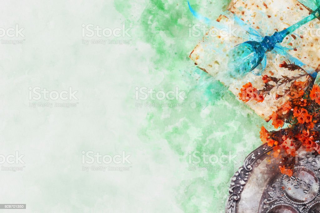 watercolor style and abstract image of Pesah celebration concept (jewish Passover holiday). stock photo